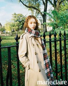 Pictured in Marie Claire KR's December issue, Lee Sung Kyung wears a Burberry trench coat styled with our oversized tartan cashmere Merino wool scarf Lee Sung Kyung Photoshoot, Lee Sung Kyung Wallpaper, Korean Girl, Asian Girl, Kang Sora, Lee Yo Won, Ahn Hyo Seop, Weightlifting Fairy Kim Bok Joo, Korean Actresses