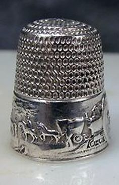 Sterling Silver Thimble With Horses, Carriage, and Train Motifs. Vintage Sewing Notions, Antique Sewing Machines, Motif Vintage, Vintage Buttons, Embroidery Scissors, Sterling Silver Flatware, Button Art, Sewing Tools, Sewing Accessories