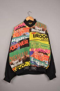 vintage troop sport illustrated graphic windbreaker, vintage troop jacket, vintage windbreaker, streetwear clothing, 90's streetwear door getfittedvintage op Etsy