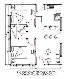 Small Apartment Design, Apartment Layout, Apartment Plans, 2 Bedroom House Plans, Cabin House Plans, Small House Layout, House Layouts, Small House Floor Plans, Shed Building Plans