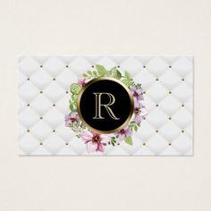 #makeupartist #businesscards - #Makeup Artist Hair Stylist Floral Monogram Luxury Business Card