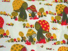 Half Yard  Hand Printed Fabric  SUNNY MUSHROOMS