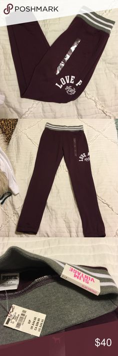 VS PINK Slim Vintage Maroon Pants NWT. Never worn. Super cute & rare. Bought for $49.95 + tax. Super cute & comfy waistband plus pockets!! Snag these fast! Feel free to make offers or ask any questions! Less on merc PINK Victoria's Secret Pants Track Pants & Joggers