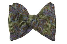 Moss Green Herringbone Woven Background with Mocha and Periwinkle Paisleys (SKU WW304) - Carrot and Gibbs Bow Ties