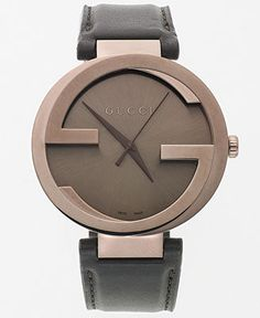 """Gucci's iconic """"G"""" logos are in full display on this handsome Interlocking collection watch. 