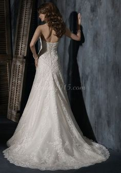 Flowers Beading Chapel Train Lace Empire Wedding Dress picture 2