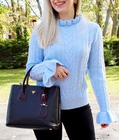 favorite blue sweater for fall, blue ruffle knit, prada bag
