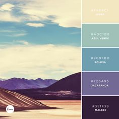 Wanderlust Collection: Bolivian Beauty. Try this palette in your next design! #F4E8C1 #A0C1B8 #709FB0 #726a95 #351F39