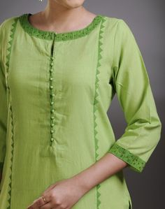 Cotton FabricLong KurtaApplique WorkPanelledBoat SleevesHand Wash Separately in Cold Water green colour kurta Indian Blouse Designs, Punjabi Suit Neck Designs, Neck Designs For Suits, Neckline Designs, Dress Neck Designs, Designs For Dresses, Pakistani Dress Design, Salwar Designs, Simple Kurti Designs