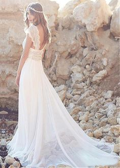 Gorgeous Silk-like Chiffon V-neck Neckline A-line Wedding Dresses With Beadings