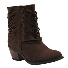 Refresh REFRESH MAKAY-03 Women's western style mid calf boots on chunky heels with micro suede upper - Shoes - Womens - Boots