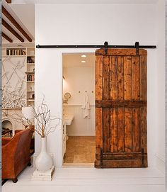 Solid Wood Sliding Barn Door With Black Rolling Hardware