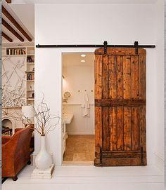 Solid Wood Sliding Barn Door With Black Rolling Hardware