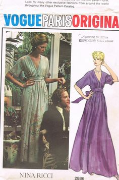 Vintage VOGUE Paris Original 2886 Nina Ricci Evening Dress