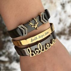 KEEP Collective Gunmetal Band Cuff Believe Deer bracelet jewelry gold bracelet stack Cute Bracelets, Ankle Bracelets, Jewelry Bracelets, Leather Bracelets, Keep Jewelry, Heart Jewelry, Keep Collection, Wholesale Gold Jewelry, Daily Fashion