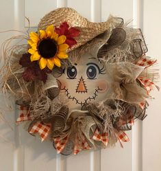 Your place to buy and sell all things handmade Fall Wreath Scarecrow Wreath Autumn Wreath Thanksgiving Fall Mesh Wreaths, Fall Deco Mesh, Autumn Wreaths, Wreath Fall, Fall Door Decorations, Fall Decor, Diy Scarecrow, Scarecrow Face, Straw Hat Scarecrow Wreath