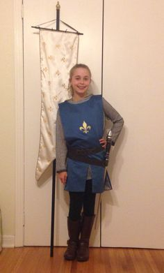 Easy to do for Ryan. Get a grey shirt, black pants, and black rain boots. Then make the tunic Cool Costumes, Costumes For Women, Halloween Costumes, Horse Costumes, Halloween 2020, Halloween Stuff, Costume Ideas, Saint Joan Of Arc, St Joan