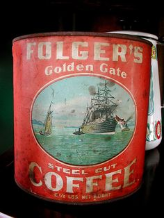 Vintage Folger's can. Coffee Tin, I Love Coffee, Best Coffee, Coffee Drinks, Coffee Beans, Coffee Shop, Coffee Cups, Folgers Coffee, Coffee Tables