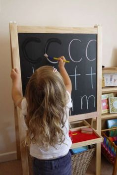 Taalontwikkeling Learning letters-painting over chalked letters using water. Preschool Literacy, Montessori Activities, Alphabet Activities, Early Literacy, Writing Activities, Preschool Activities, 3 Year Old Activities, Preschool Alphabet, Alphabet Crafts