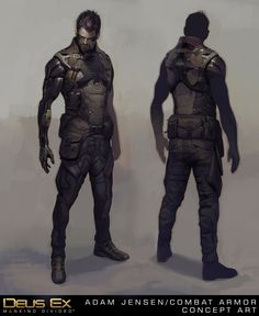 """deusex: """"Our final concept art for Adam Jensen in Deus Ex: Mankind Divided, in trench coat and combat armor. Game Character, Character Concept, Concept Art, Armor Concept, Game Concept, Character Sheet, Deus Ex Mankind Divided, Combat Armor, Sci Fi Armor"""