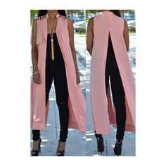 Rotita Sleeveless Turndown Collar Solid Pink Waistcoat ($21) ❤ liked on Polyvore featuring outerwear, vests, pink, waistcoat vest, long sleeveless vest, long waistcoat, sleeveless vest and sleeveless waistcoat