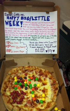 Big/little week pizza with skittles