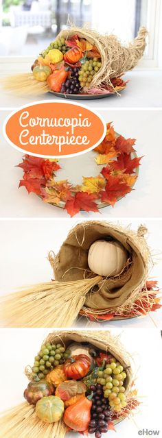 Nothing says fall celebrations like a cornucopia overflowing with autumn produce and botanicals! Whether you use fresh or artificial elements, decorating a cornucopia centerpiece is easy with one little trick to hold everything together, even as elements appear to cascade out the cornucopia. Learn the truck here: http://www.ehow.com/how_4557259_arrange-cornucopia-floral-centerpiece.html?utm_source=pinterest.com&utm_medium=referral&utm_content=freestyle&utm_campaign=fanpage