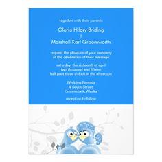 Sports Blue Love Birds Weddings Custom Personalized Announcements