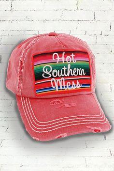 e0b1b18aeb231 Serape Hot Southern Mess in Distressed Brick or Gray Decorative Ball Cap   Graphic Baseball Hat   Bad Hair Day Baseball Hat