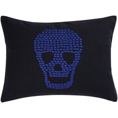 Betsey Johnson Regal Roses Embroidered Skull Pillow ($28) ❤ liked on Polyvore featuring home, home decor, throw pillows, black multi, black toss pillows, betsey johnson, skull home accessories, betsey johnson home decor and black accent pillows