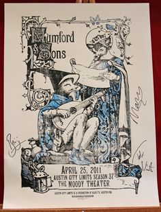 """Signed Austin City Limits gig poster!  I love that Ben's signature is """"Benji.""""  :D"""