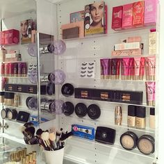 Organizing the right side #vanity using #Nail polish racks I bought here: http://amzn.to/1Gajjyj Details of where I got the rack from previous post and see what's on my left side  #makeup #haul Credit: LisaPullano