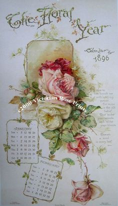 Print FREE SHIP The Floral Year Roses by VictorianRosePrints, $12.99
