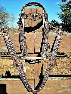 LUAN'S LEATHER HERITAGE BRAND TACK SET HEADSTALL BREAST COLLAR COPPER CRYSTALS!!