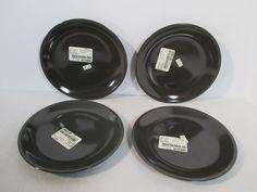 Salad Plates Charcoal Gray Russel Wright Oneida Mid Century Design Set of 4 #Oneida