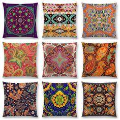 Hot Sale Boho Paisley Oriental Floral Pattern Navajo Geometric Prints Fantasy Petal Flowers Cushion Home Decor Sofa Throw Pillow Handmade Cushion Covers, Handmade Cushions, Sofa Throw Pillows, Throw Pillow Cases, Cover Pillow, Geometric Pillow, Geometric Prints, Colourful Cushions, Floral Pillows