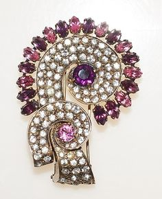 Estate 30s Eisenberg Original Gold on Sterling Pink Purple Rhinestone Fur Clip