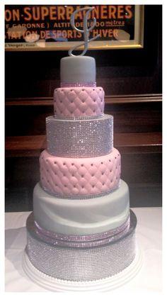 *love this cake!* Pink grey wedding JLS Custom cakes