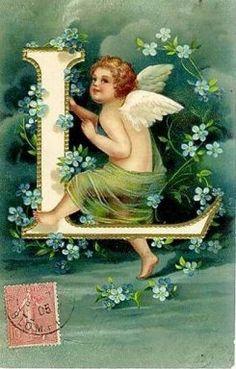"""Vintage Cupid """"L"""" Postcard"""
