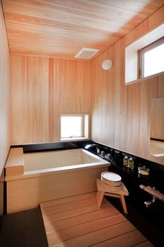 You will have a bathroom decor with a certain character which also sparks out a. Navy Bathroom Decor, Home Decor Bedroom, Bathroom Interior, Japanese Bath House, Japanese Style Bathroom, Wooden Bathtub, Restroom Design, Small Bathroom Vanities, Interior Design Boards