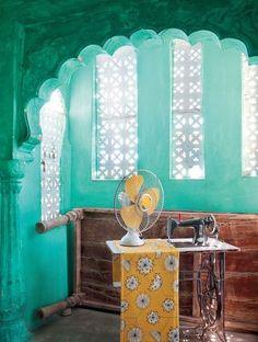 Sunflower fabric. Tiwiri Haveli, Jodhpur