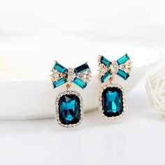 Crystal Bow Drop Earrings Gold Plated