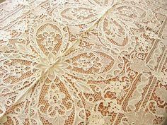 Unused Grape Leaf Antique c1920 Point Venise Ital Needle Lace Tablecloth 68x84   eBay