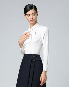 #VIPme (VIPSHOP Global) - #JANE STORY White Plain Lapel Single Breasted Long Sleeve Fitted Women's Shirts - AdoreWe.com