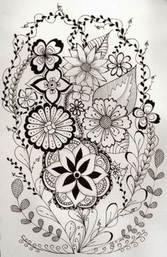 Doodle flowers colour my world, doodling and zentangle pinte. Zentangle Drawings, Doodles Zentangles, Zentangle Patterns, Doodle Drawings, Rose Drawings, Tangle Doodle, Tangle Art, Zen Doodle, Doodle Art
