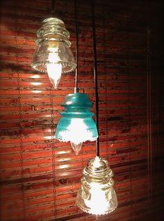 Upcycled glass insulator pendants
