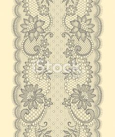 Lace Ribbon Vertical seamless pattern. Royalty Free Stock Vector Art Illustration