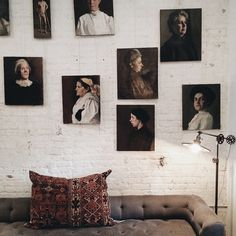 antique portrait gallery wall