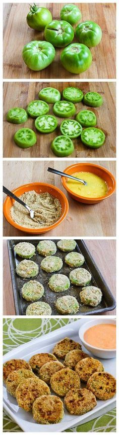 Baked Green Tomatoes with Sriracha-Ranch Dipping Sauce. Yummy! Green Tomatoes.