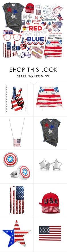 """Three Cheers for the Red, White & Blue!"" by curekitty ❤ liked on Polyvore featuring Marc Jacobs, Mudd, Marvel, Bling Jewelry, Forever 21, Essie and SAM."